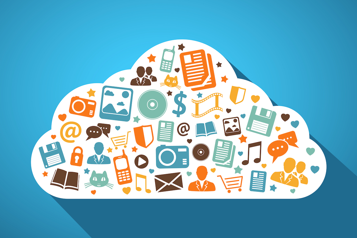Multimedia social networks and mobile apps in the cloud concept vector illustration