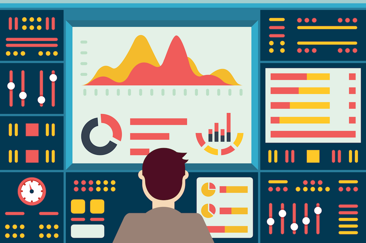Vector illustration of web analytics information on dashboard and development website statistic - vector illustration