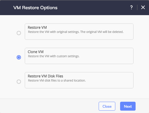 HYCU Deployment - Restore options