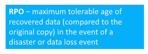 RPO - maximum tolerable age of recovered data compared to the original copy in the event of a disaster or data loss event