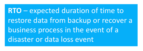 RTO - expected duration of time to restore data from backup or recover a business process in the event of a disaster or data loss event